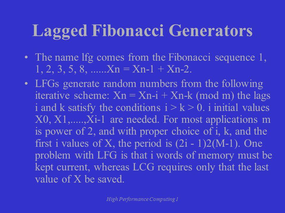 High Performance Computing 1 Lagged Fibonacci Generators The name lfg comes from the Fibonacci sequence 1, 1, 2, 3, 5, 8,......Xn = Xn-1 + Xn-2.