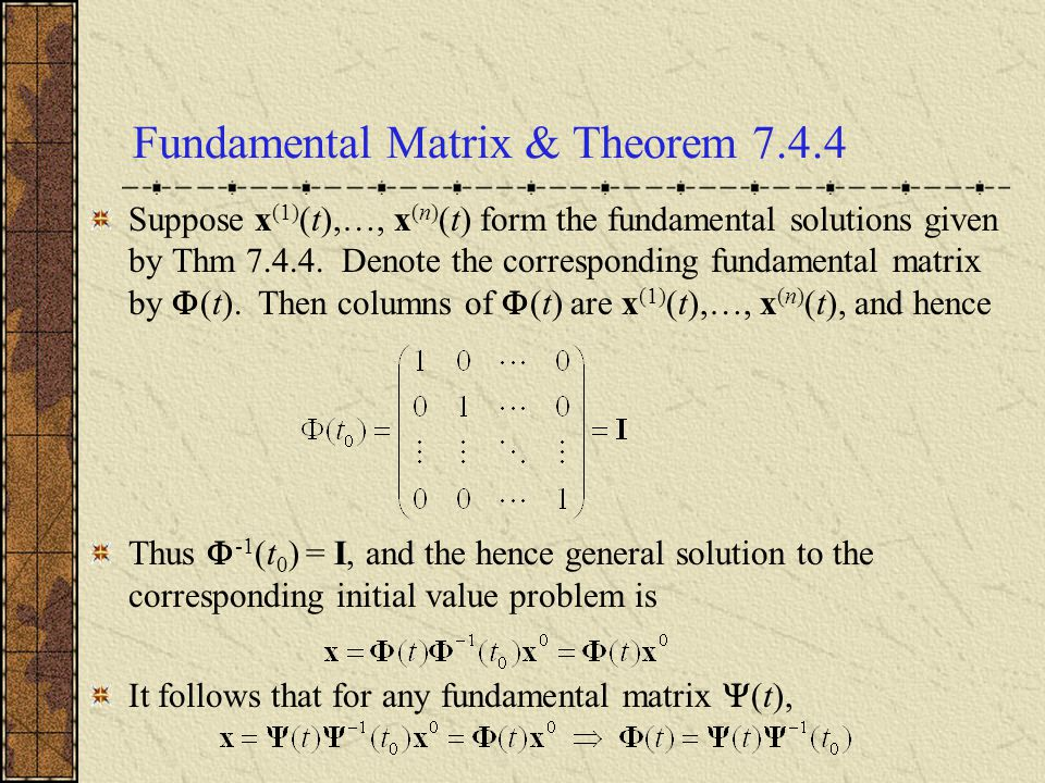 Uncoupling: Transform Matrix T In order to explore transforming our given system x = Ax of coupled equations into an uncoupled system x = Dx, where D is a diagonal matrix, we will use the eigenvectors of A.