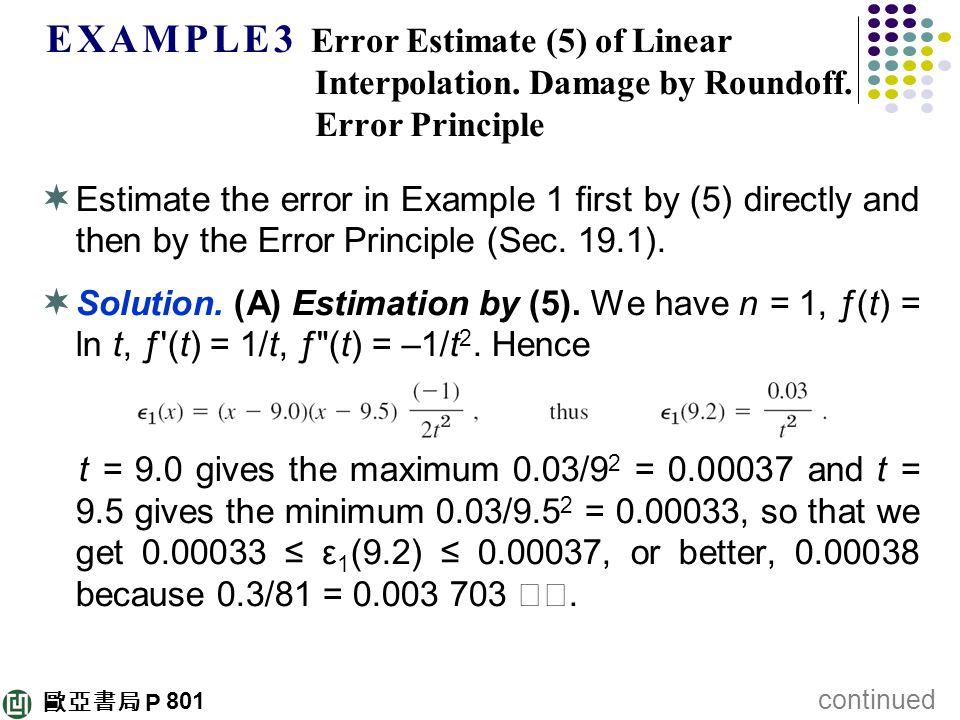 歐亞書局 P E X A M P L E 3 Error Estimate (5) of Linear Interpolation. Damage by Roundoff. Error Principle  Estimate the error in Example 1 first by (5)