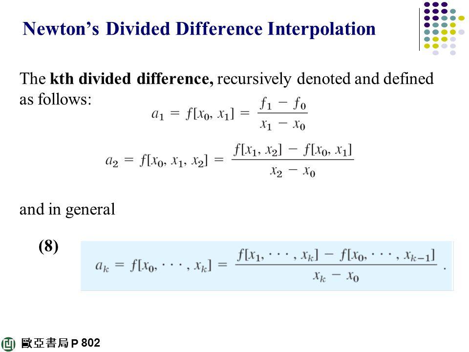 歐亞書局 P Newton's Divided Difference Interpolation The kth divided difference, recursively denoted and defined as follows: and in general (8) 802