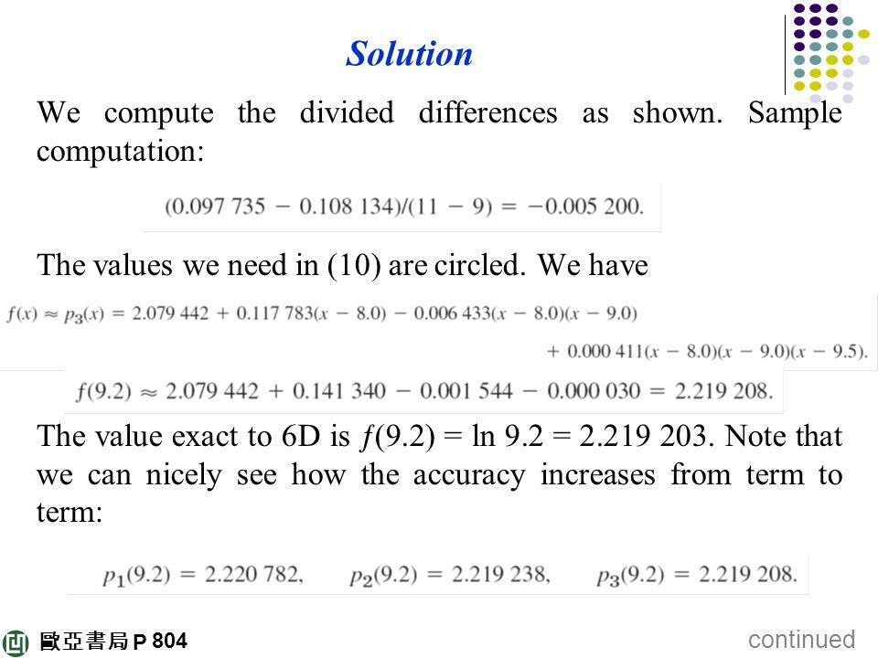 歐亞書局 P Solution We compute the divided differences as shown. Sample computation: The values we need in (10) are circled. We have The value exact to 6D