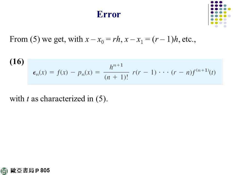 歐亞書局 P Error From (5) we get, with x – x 0 = rh, x – x 1 = (r – 1)h, etc., (16) with t as characterized in (5). 805