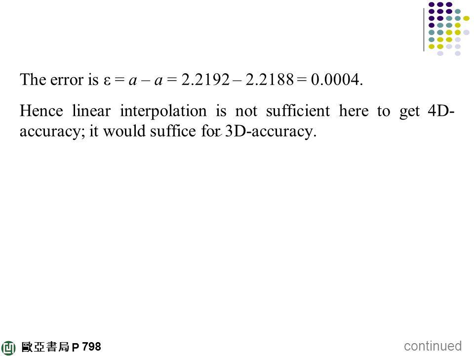 歐亞書局 P The error is ε = a – a = 2.2192 – 2.2188 = 0.0004. Hence linear interpolation is not sufficient here to get 4D- accuracy; it would suffice for