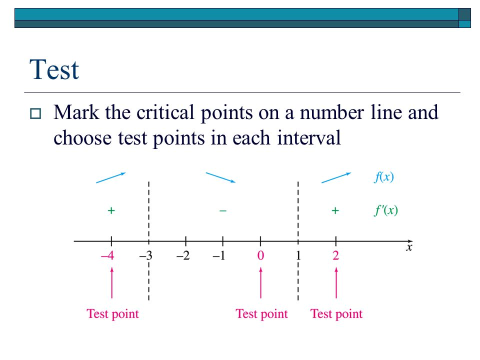 Test  Mark the critical points on a number line and choose test points in each interval