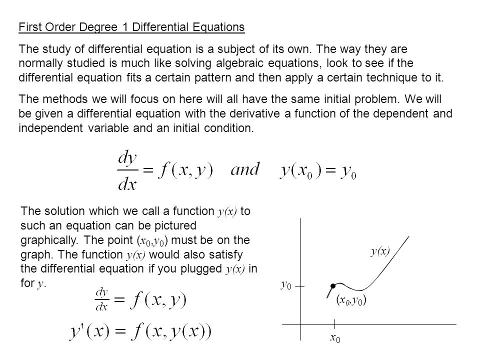 First Order Degree 1 Differential Equations The study of differential equation is a subject of its own.