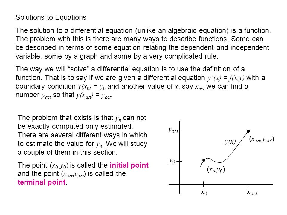 Solutions to Equations The solution to a differential equation (unlike an algebraic equation) is a function.