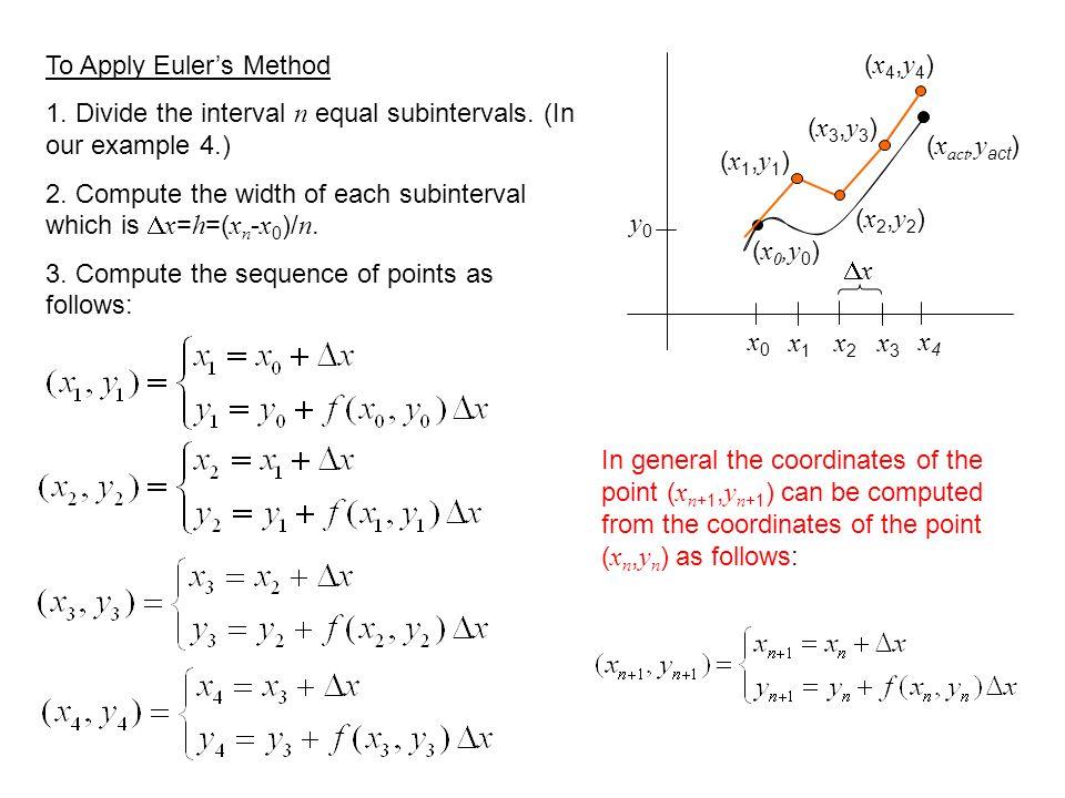 (x4,y4)(x4,y4) (x3,y3)(x3,y3) (x2,y2)(x2,y2) (x1,y1)(x1,y1) x0x0 ( x 0,y 0 ) ( x act,y act ) x4x4 x1x1 x2x2 x3x3 To Apply Euler's Method 1.