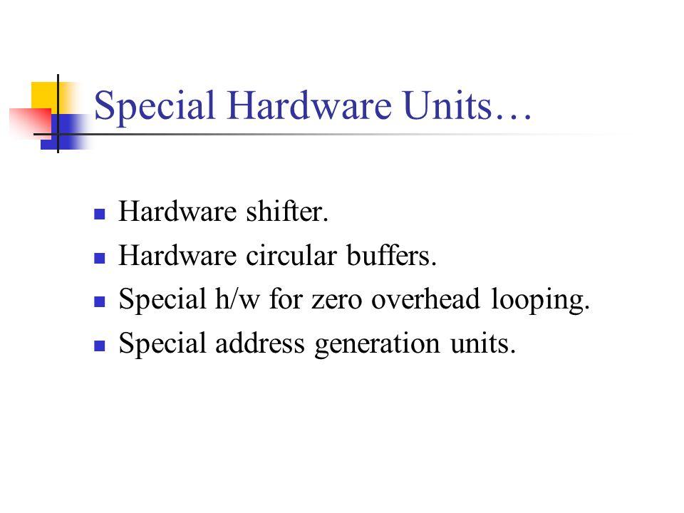 Special Hardware Units… Hardware shifter.Hardware circular buffers.