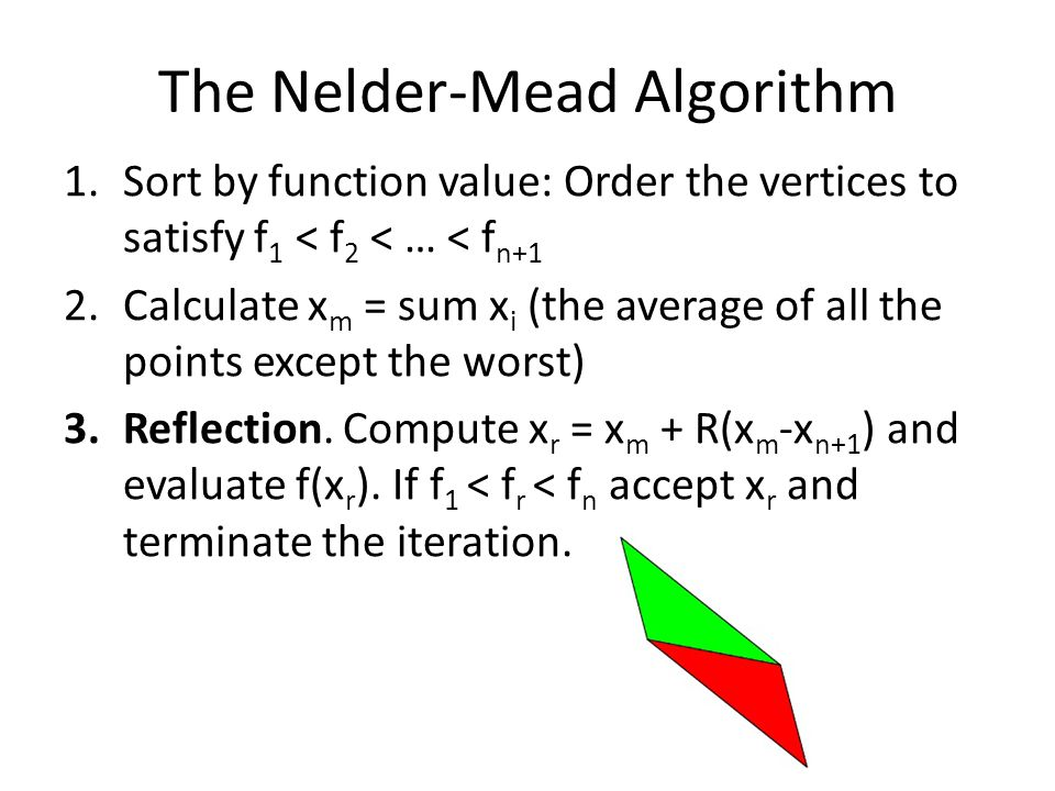 The Nelder-Mead Algorithm 1.Sort by function value: Order the vertices to satisfy f 1 < f 2 < … < f n+1 2.Calculate x m = sum x i (the average of all the points except the worst) 3.Reflection.