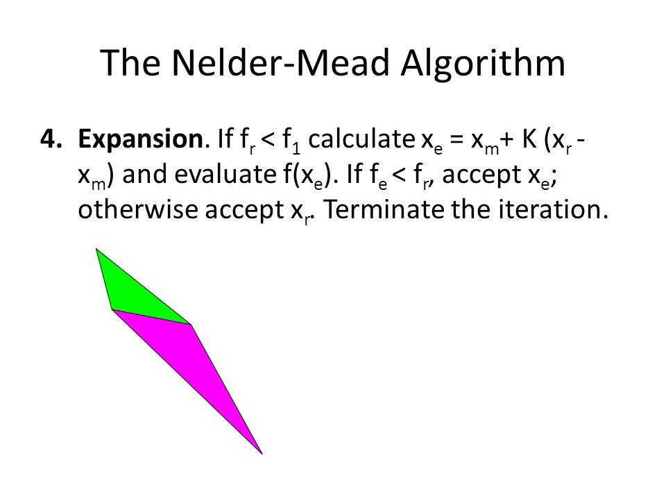 The Nelder-Mead Algorithm 4.Expansion. If f r < f 1 calculate x e = x m + K (x r - x m ) and evaluate f(x e ). If f e < f r, accept x e ; otherwise ac