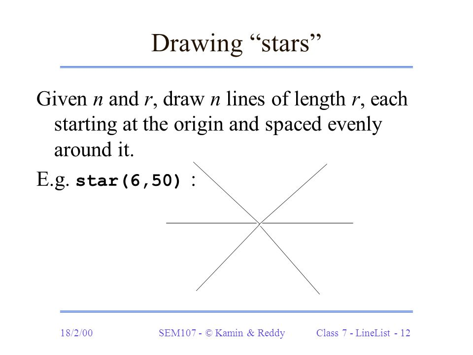 18/2/00SEM107 - © Kamin & Reddy Class 7 - LineList - 12 Drawing stars Given n and r, draw n lines of length r, each starting at the origin and spaced evenly around it.