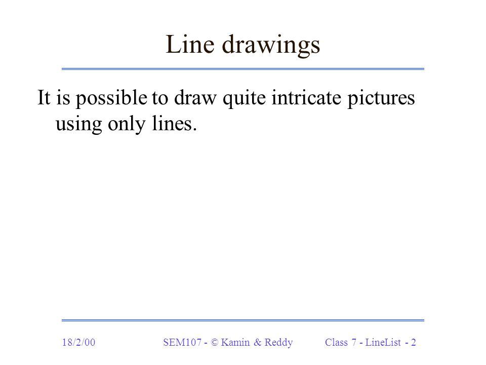 18/2/00SEM107 - © Kamin & Reddy Class 7 - LineList - 23 Drawing polygons (cont.) static LineList polygon1 (int order, int radius, double theta, double angleincr, int x0, int y0) { if (order == 0) return LL.nil; else { int x1 = (int)(radius*Math.cos(theta+angleincr)); int y1 = (int)(radius*Math.sin(theta+angleincr)); return LL.cons(new Line(x0,y0,x1,y1), polygon1(order-1, radius, theta+angleincr, angleincr, x1, y1)); }
