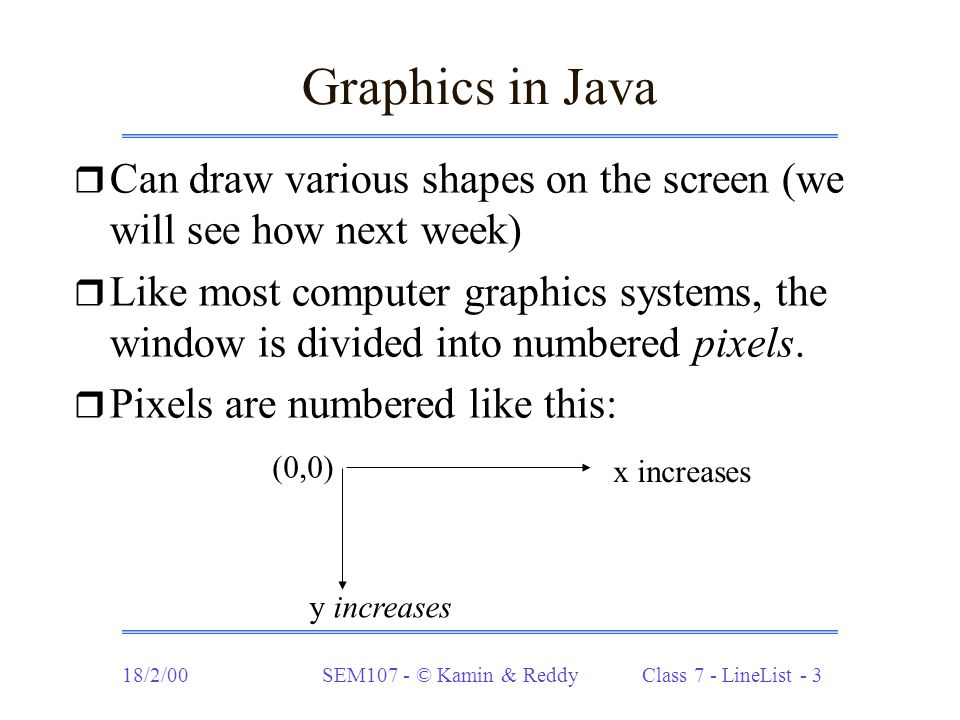 18/2/00SEM107 - © Kamin & Reddy Class 7 - LineList - 3 Graphics in Java r Can draw various shapes on the screen (we will see how next week) r Like most computer graphics systems, the window is divided into numbered pixels.