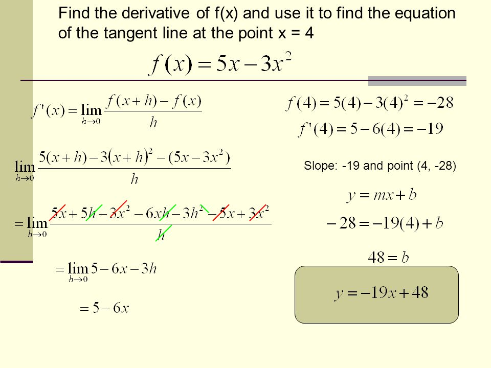 Find the derivative of f(x) and use it to find the equation of the tangent line at the point x = 4 Slope: -19 and point (4, -28)