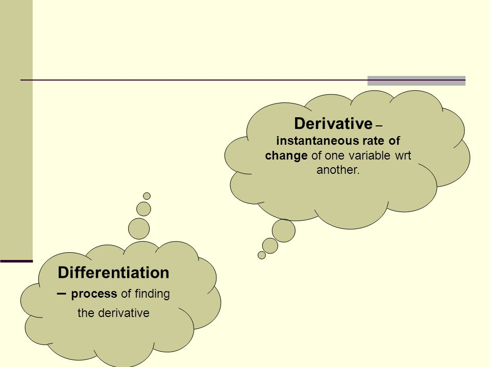 Derivative – instantaneous rate of change of one variable wrt another.