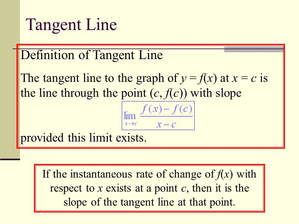Definition of Tangent Line The tangent line to the graph of y = f(x) at x = c is the line through the point (c, f(c)) with slope provided this limit exists.