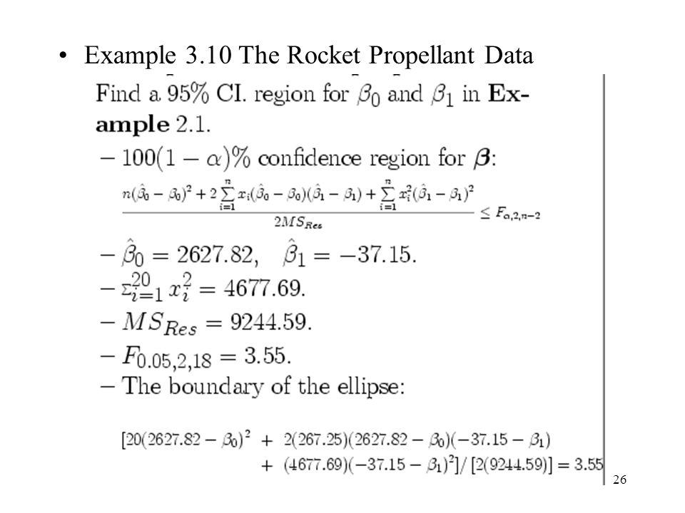 26 Example 3.10 The Rocket Propellant Data