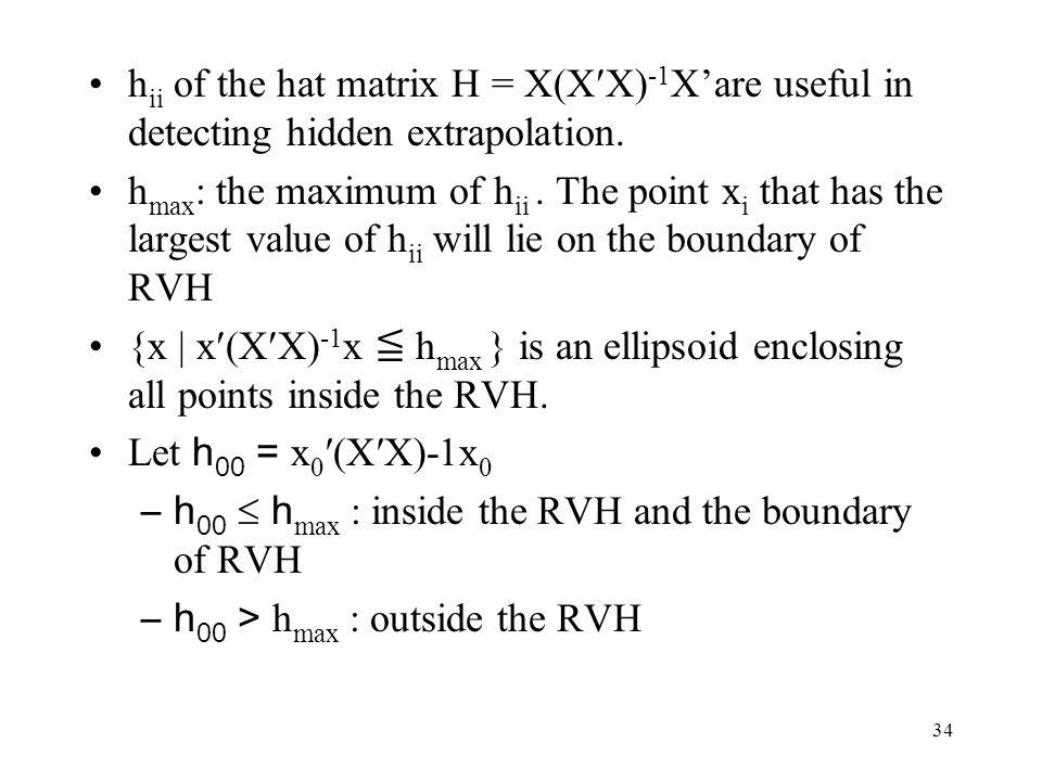 34 h ii of the hat matrix H = X(XX) -1 X'are useful in detecting hidden extrapolation.