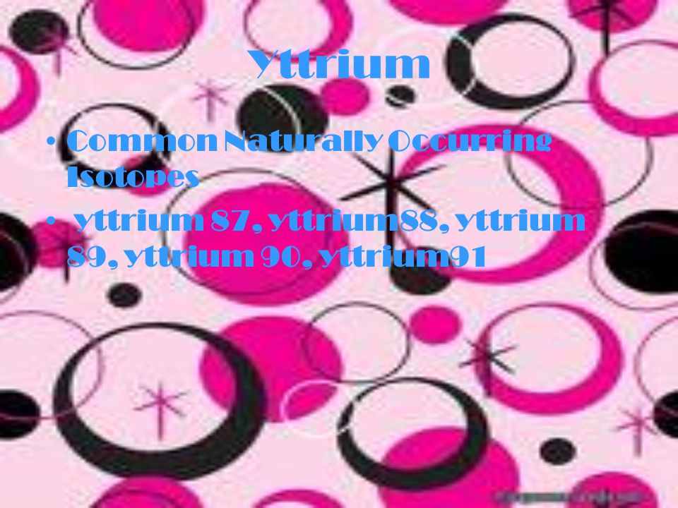 Yttrium How atomic mass is found… Yttrium 87-(86.91087573x0) Yttrium 88-(87.909501146x0) Yttrium 89-(88.905848295x100) Yttrium 90-(89.907151886x0) Yttrium 91-(90.907304791x0) (86.91087573x0)+(87.909501146x0)+(88.90584 8295x100)+(89.907151886x0)+(90.907304791x 0)=88.905