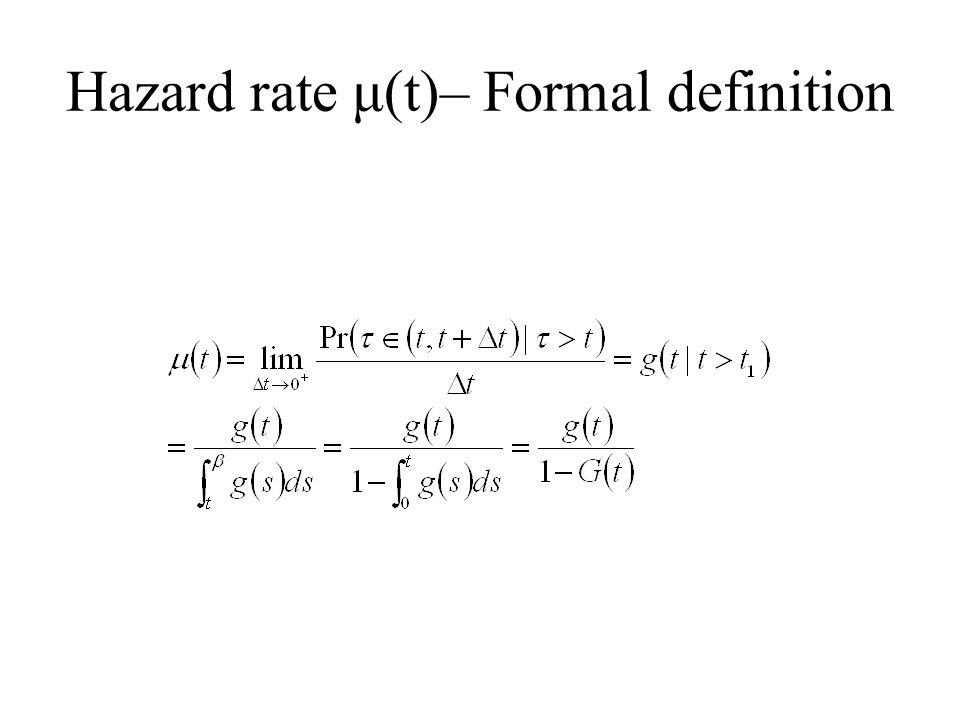 Hazard rate μ(t)– Formal definition