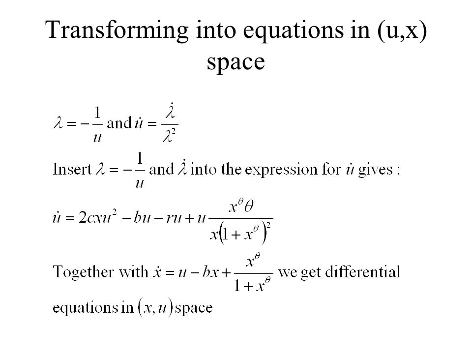 Transforming into equations in (u,x) space