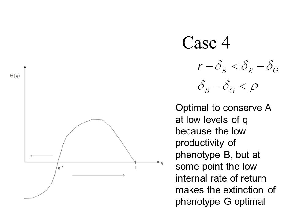 Case 4 Optimal to conserve A at low levels of q because the low productivity of phenotype B, but at some point the low internal rate of return makes t