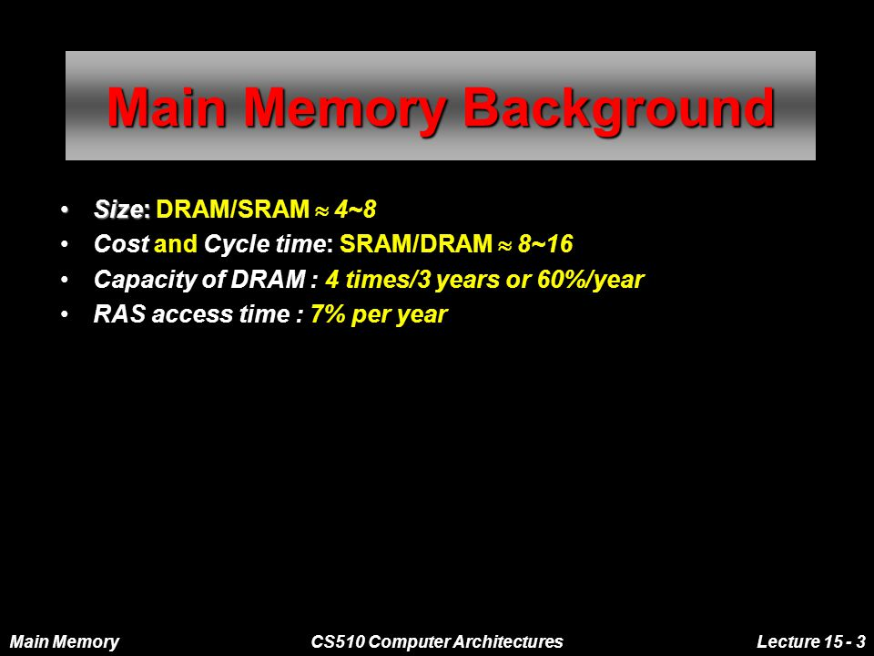 Main MemoryCS510 Computer ArchitecturesLecture 15 - 3 Main Memory Background Size:Size: DRAM/SRAM  4~8 Cost and Cycle time: SRAM/DRAM  8~16 Capacity of DRAM : 4 times/3 years or 60%/year RAS access time : 7% per year