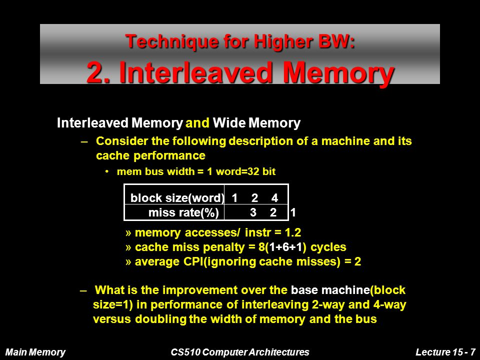 Main MemoryCS510 Computer ArchitecturesLecture 15 - 7 Technique for Higher BW: 2.