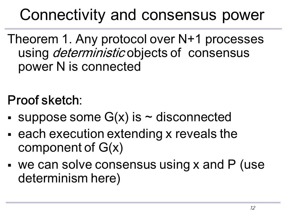 12 Connectivity and consensus power Theorem 1.