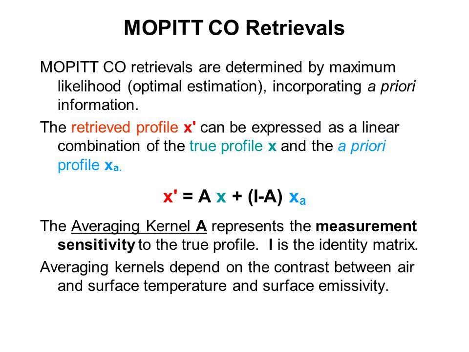 MOPITT CO Retrievals MOPITT CO retrievals are determined by maximum likelihood (optimal estimation), incorporating a priori information. The retrieved