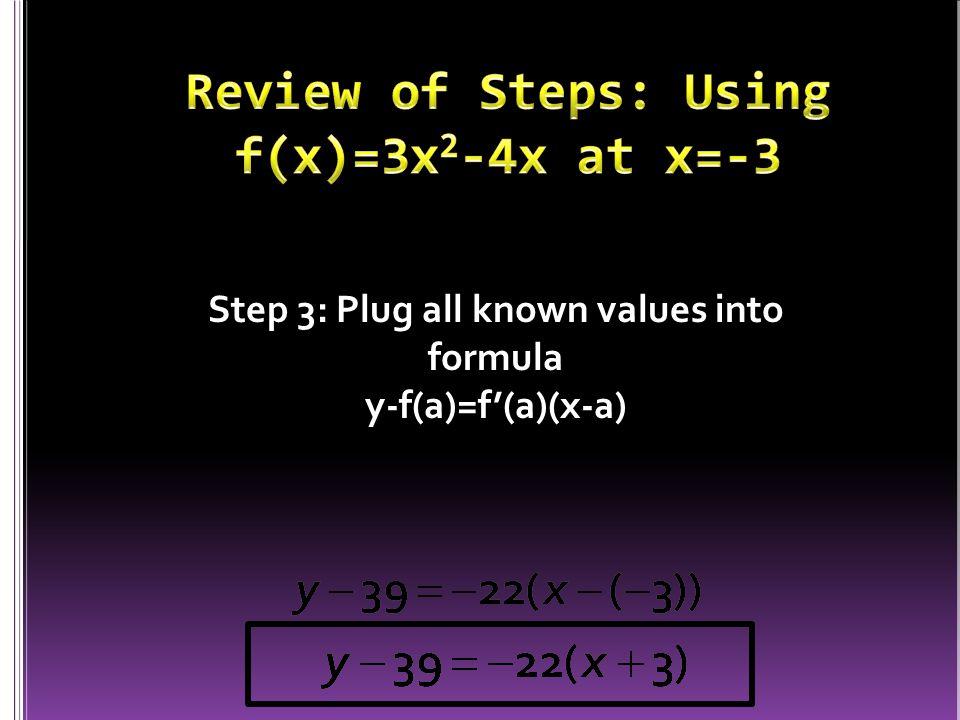 Step 3: Plug all known values into formula y-f(a)=f'(a)(x-a)