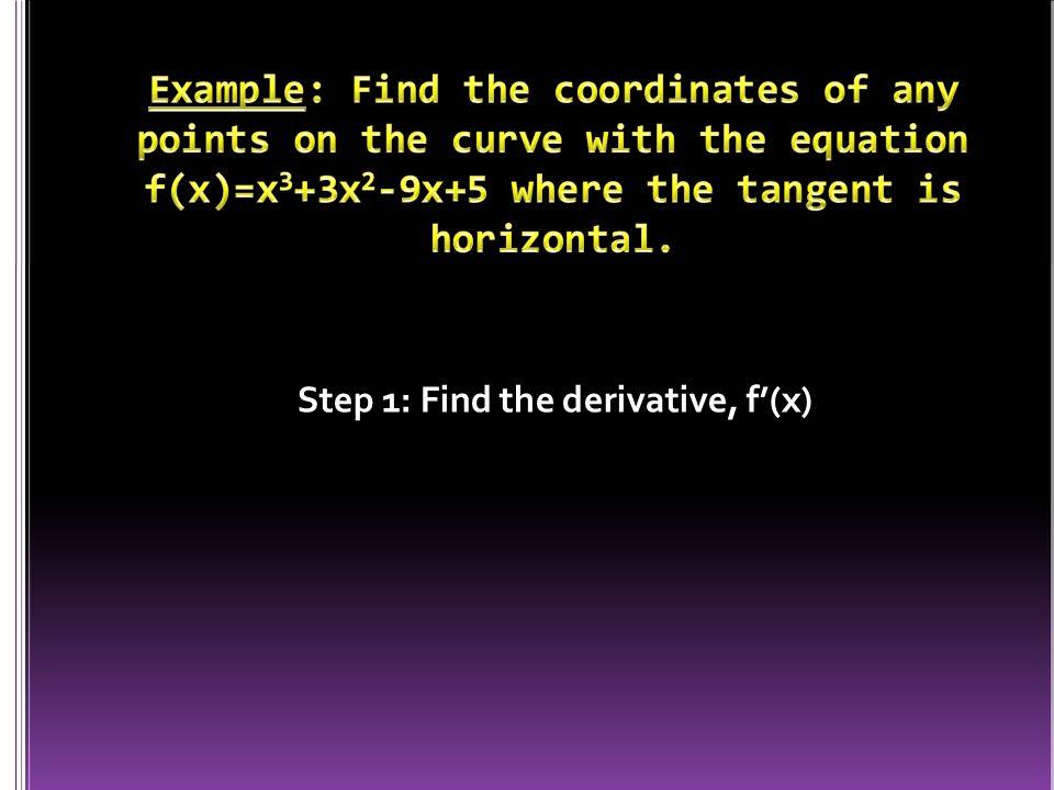 Step 1: Find the derivative, f'(x)