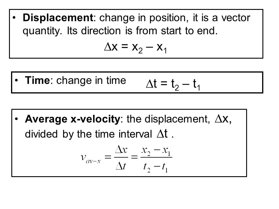 example An object is forced to move along the x axis in such a way that is displacement is given by x = 30 + 20t – 15t 2 where x is in m and t is in s.