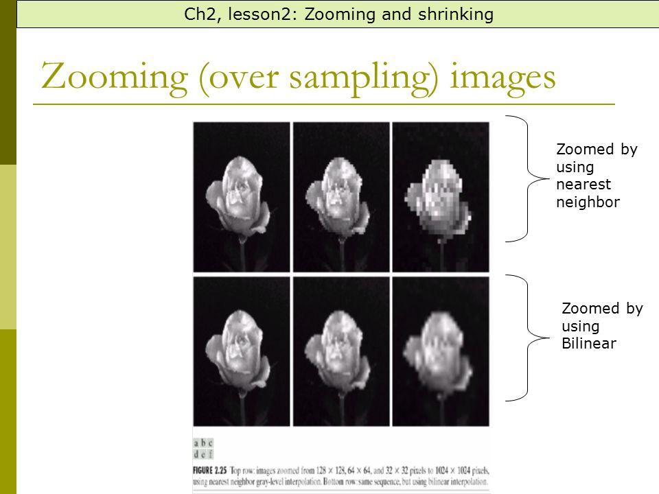 Zooming (over sampling) images Ch2, lesson2: Zooming and shrinking Zoomed by using nearest neighbor Zoomed by using Bilinear