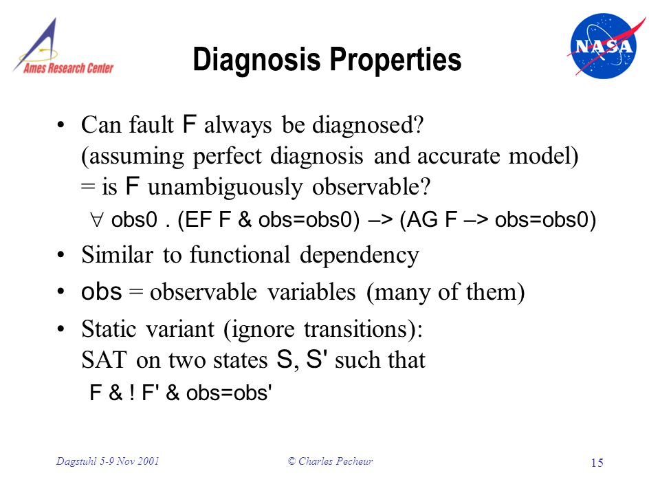 © Charles Pecheur 15 Dagstuhl 5-9 Nov 2001 Diagnosis Properties Can fault F always be diagnosed.