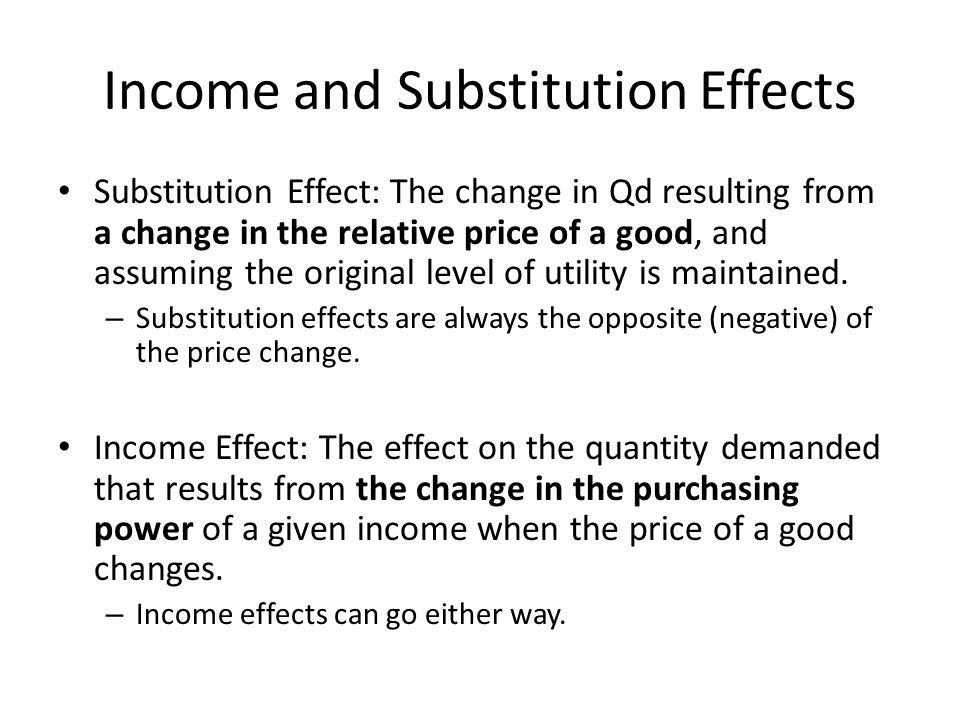 Income and Substitution Effects When the price of a good changes, consumers choose a new bundle.