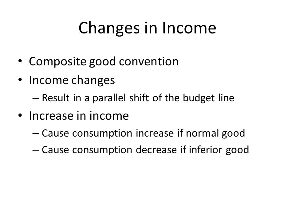 Contents 1.Income Change a.Income-Consumption Curve b.Normal/Inferior good 2.Price Change a.Price-Consumption Curve b.Substitution Effect / Income Effect c.Normal/Inferior/Giffen Good 3.Elasticity a.Point/Arc Elasticity b.Elasticity and Total Revenue