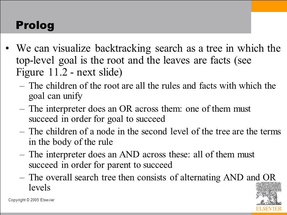 Copyright © 2005 Elsevier Prolog We can visualize backtracking search as a tree in which the top-level goal is the root and the leaves are facts (see
