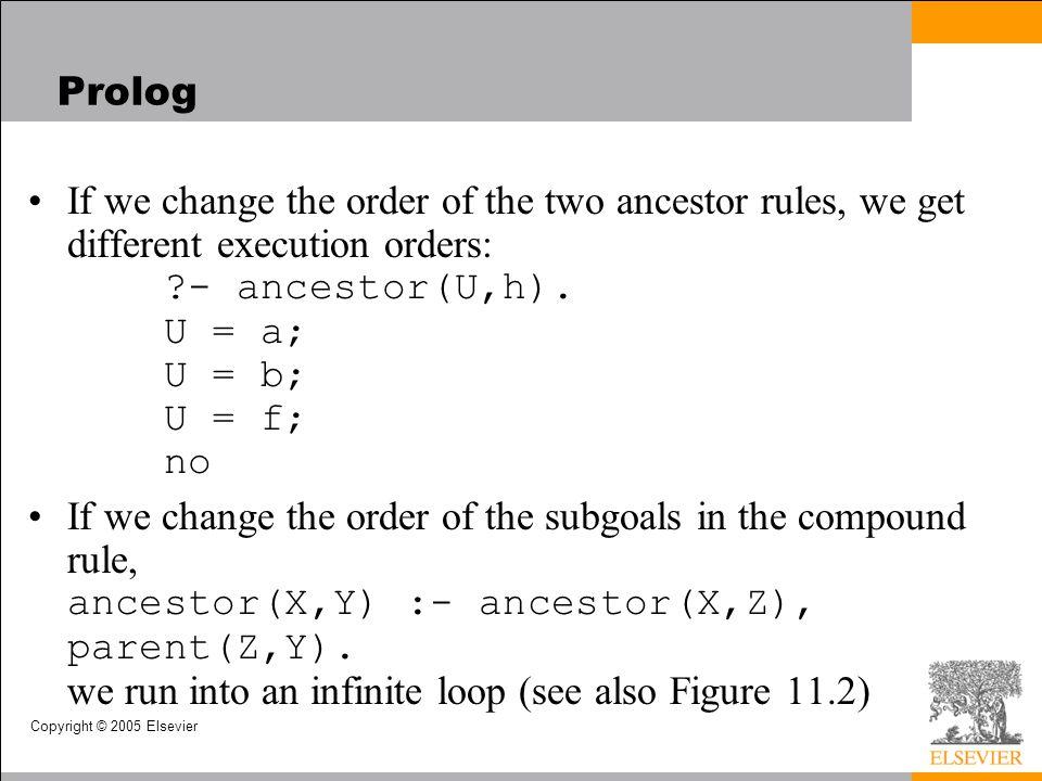 Copyright © 2005 Elsevier Prolog If we change the order of the two ancestor rules, we get different execution orders: ?- ancestor(U,h). U = a; U = b;