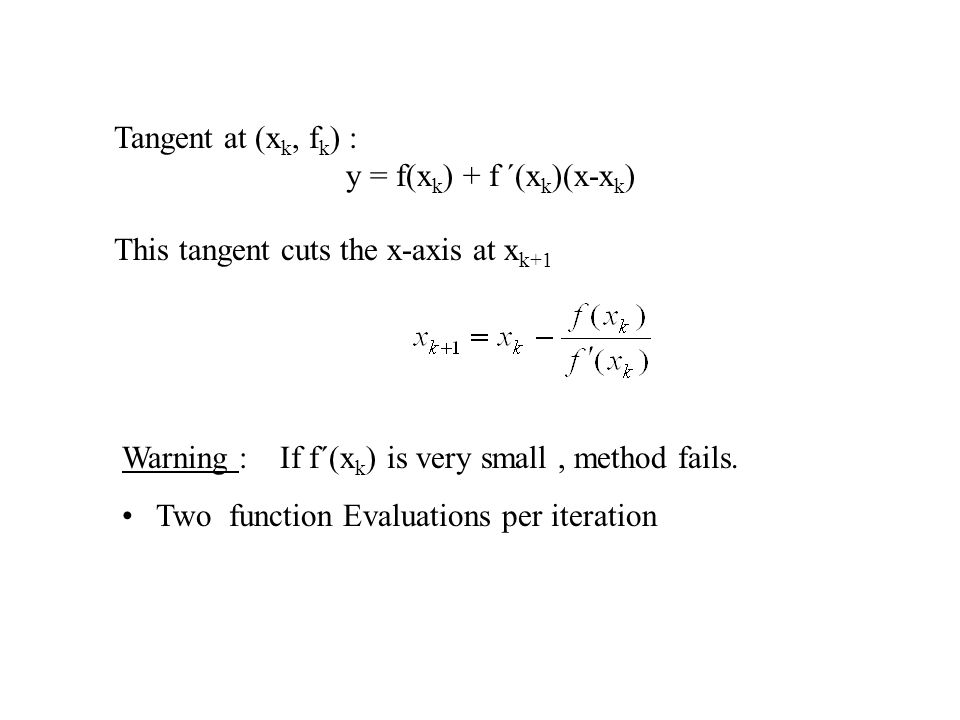 Warning : If f´(x k ) is very small, method fails.