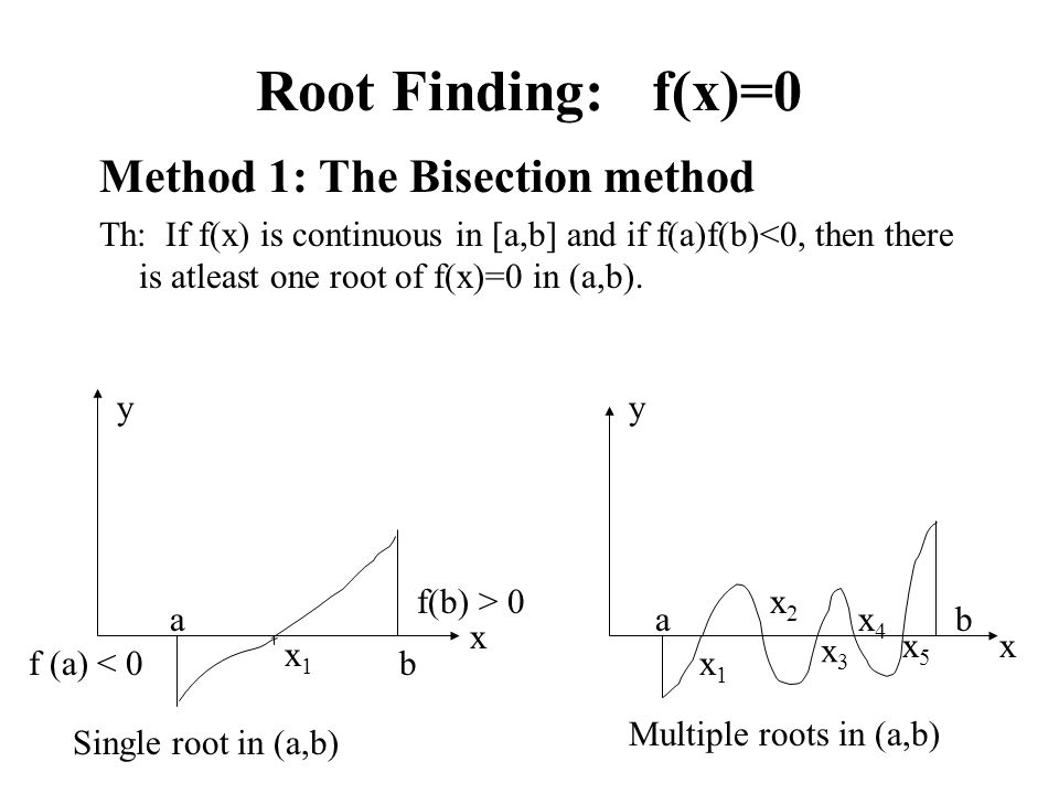 Root Finding: f(x)=0 Method 1: The Bisection method Th: If f(x) is continuous in [a,b] and if f(a)f(b)<0, then there is atleast one root of f(x)=0 in (a,b).