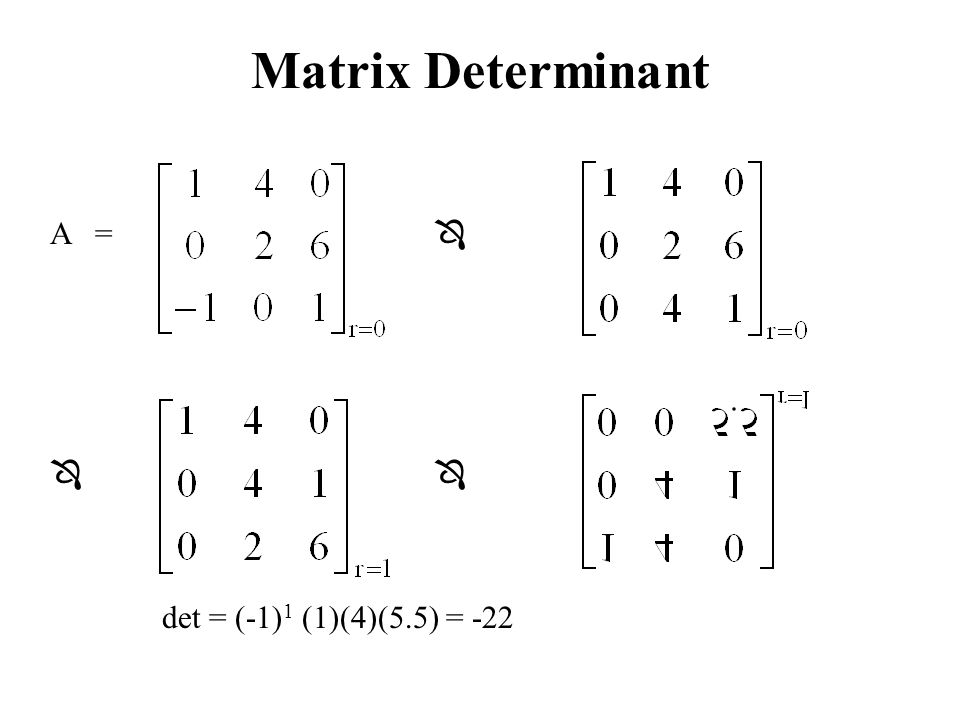 Matrix Determinant A =   det = (-1) 1 (1)(4)(5.5) = -22