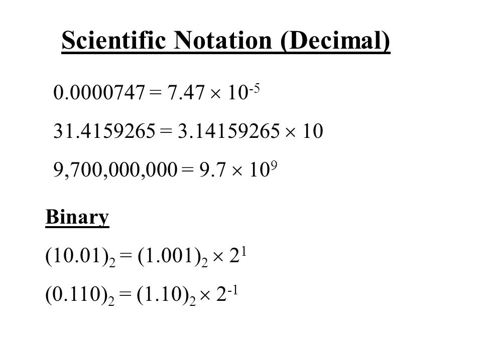 Scientific Notation (Decimal) 0.0000747 = 7.47  10 -5 31.4159265 = 3.14159265  10 9,700,000,000 = 9.7  10 9 Binary (10.01) 2 = (1.001) 2  2 1 (0.110) 2 = (1.10) 2  2 -1