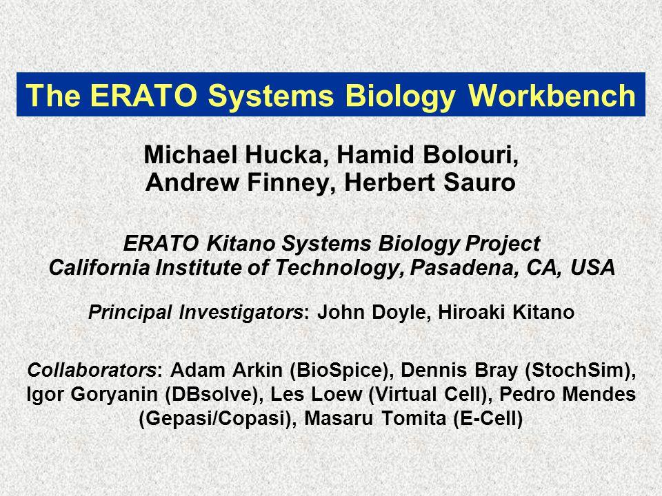 The ERATO Systems Biology Workbench Michael Hucka, Hamid Bolouri, Andrew Finney, Herbert Sauro ERATO Kitano Systems Biology Project California Institute of Technology, Pasadena, CA, USA Principal Investigators: John Doyle, Hiroaki Kitano Collaborators: Adam Arkin (BioSpice), Dennis Bray (StochSim), Igor Goryanin (DBsolve), Les Loew (Virtual Cell), Pedro Mendes (Gepasi/Copasi), Masaru Tomita (E-Cell)
