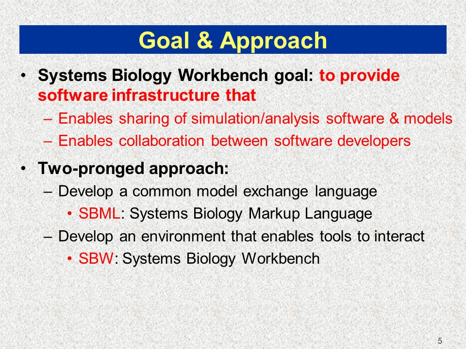 5 Goal & Approach Systems Biology Workbench goal: to provide software infrastructure that –Enables sharing of simulation/analysis software & models –Enables collaboration between software developers Two-pronged approach: –Develop a common model exchange language SBML: Systems Biology Markup Language –Develop an environment that enables tools to interact SBW: Systems Biology Workbench