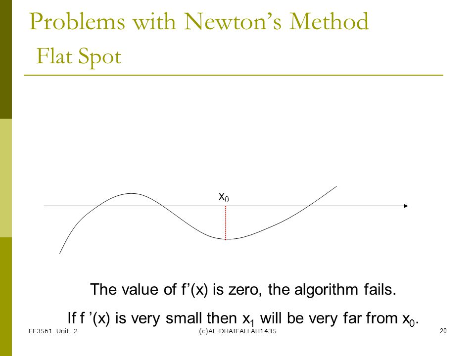 EE3561_Unit 2(c)AL-DHAIFALLAH143520 Problems with Newton's Method Flat Spot The value of f'(x) is zero, the algorithm fails. If f '(x) is very small t
