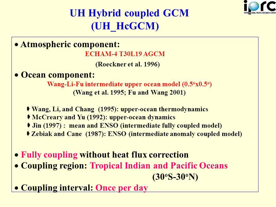UH Hybrid coupled GCM (UH_HcGCM)  Atmospheric component: ECHAM-4 T30L19 AGCM (Roeckner et al.
