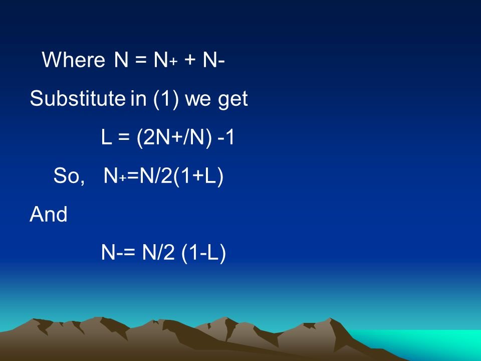 Where N = N + + N- Substitute in (1) we get L = (2N+/N) -1 So, N + =N/2(1+L) And N-= N/2 (1-L)