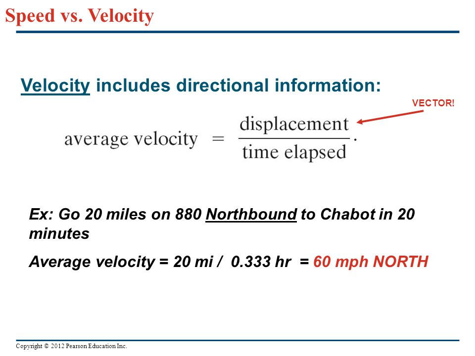 Copyright © 2012 Pearson Education Inc. Velocity includes directional information: Speed vs. Velocity Ex: Go 20 miles on 880 Northbound to Chabot in 2