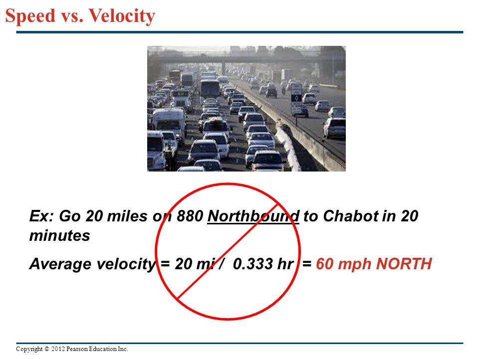 Copyright © 2012 Pearson Education Inc. Speed vs. Velocity Ex: Go 20 miles on 880 Northbound to Chabot in 20 minutes Average velocity = 20 mi / 0.333